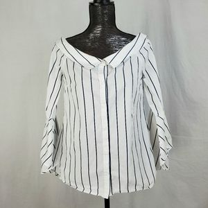 Leith Striped Off the Shoulder Portrait Collar Top